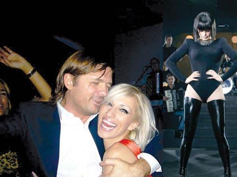 Черна Severina пее, докато нейният Milan задява блондинки