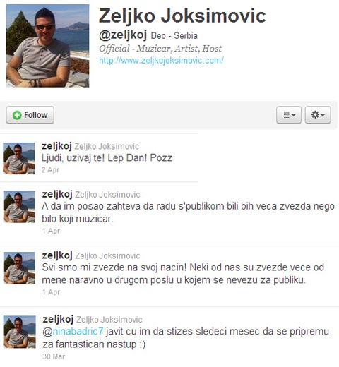 Željko Joksimović - Twitter