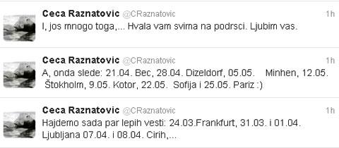 Ceca Ražnatović обяви в Twitter датите на концертите си