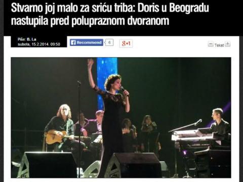Doris Dragović преживя истински крах на концерта си в белградската Kombank arena